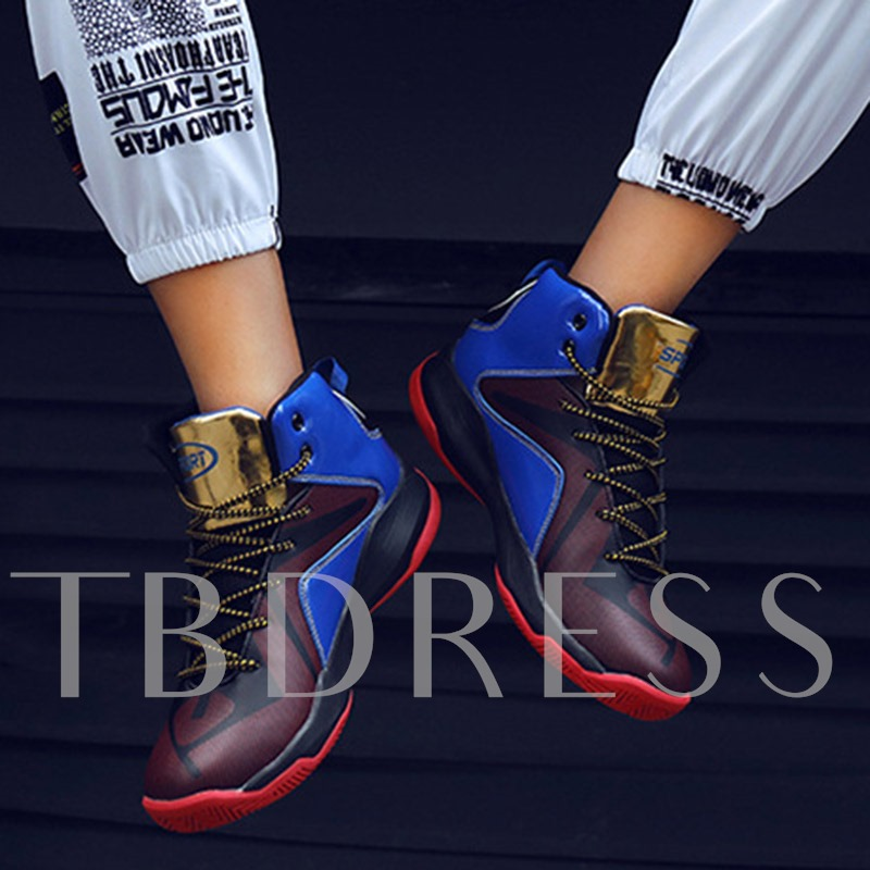 Lace-Up High Top Round Toe Men's Basketball Shoes