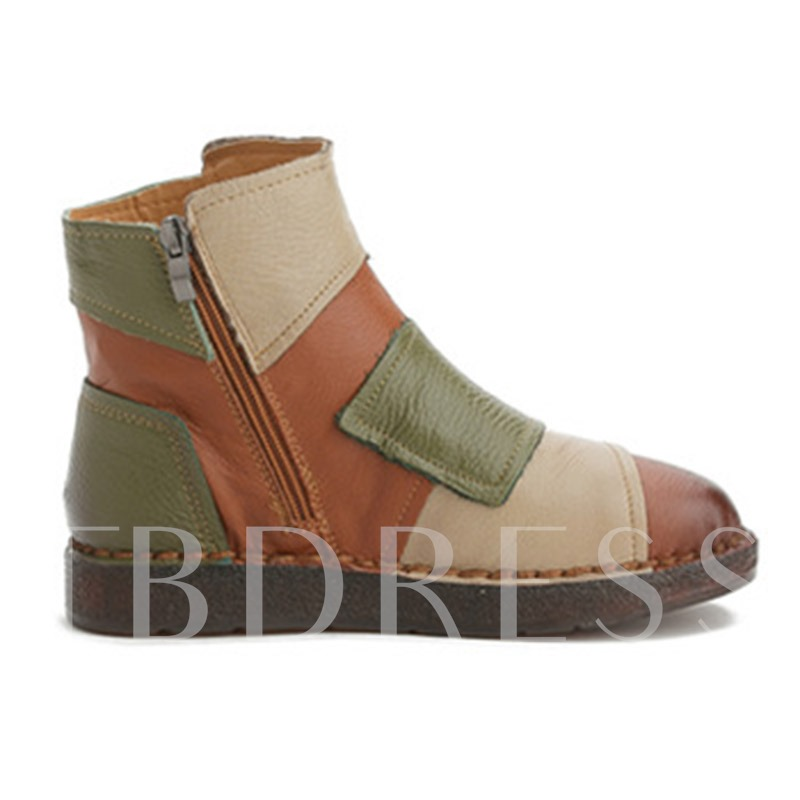 Round Toe Side Zipper Color Block Vintage Ankle Boots