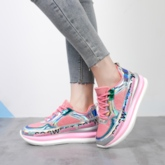 Round Toe Metallic Lace-Up Patchwork Wedge Women's Sneakers