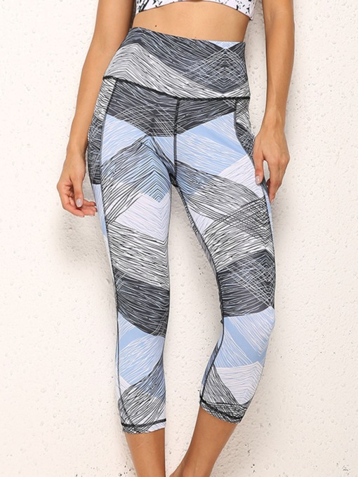 Color Block Patchwork Anti-Sweat Polyester Mid-Calf Summer Yoga Pants