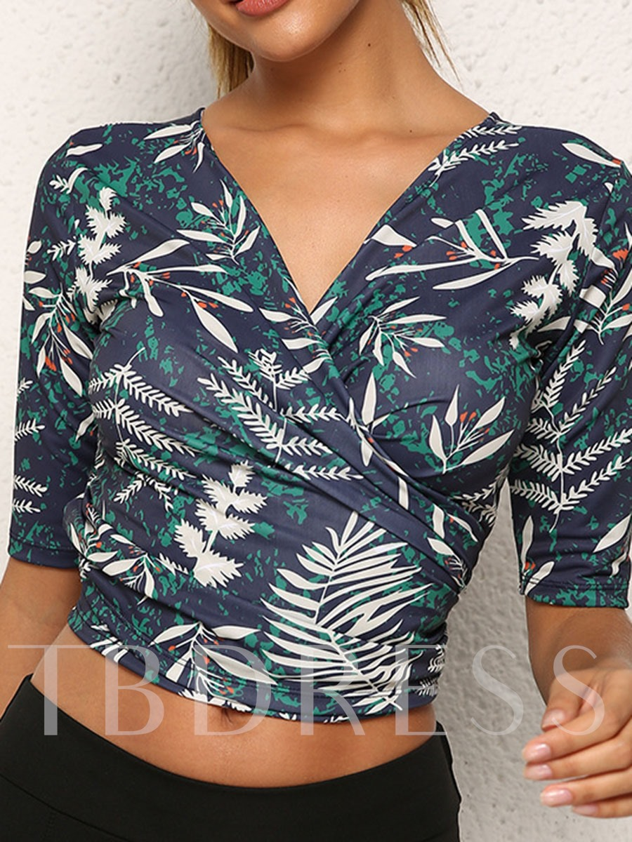 Polyester Floral Print Anti-Sweat Female Short Sleeve Cardigan Tops