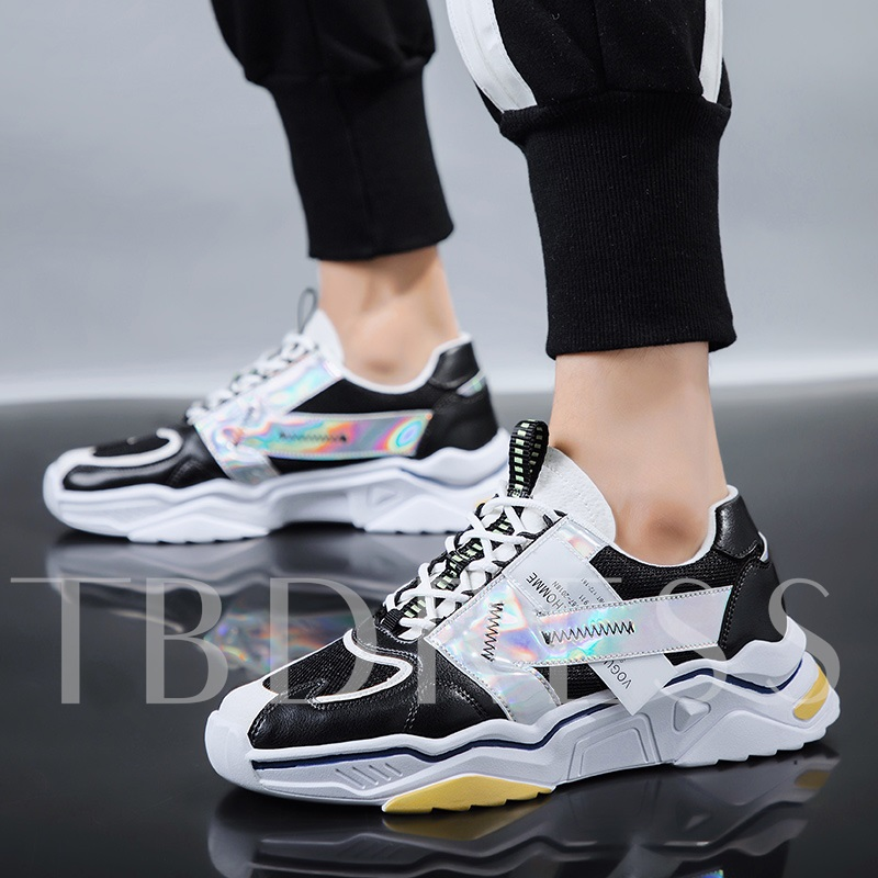 Lace-Up Neon Low-Cut Upper Round Toe Men's Sneakers