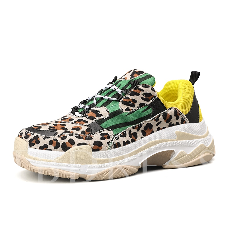 Lace-Up Leopard Print Men's Chunky Sneakers