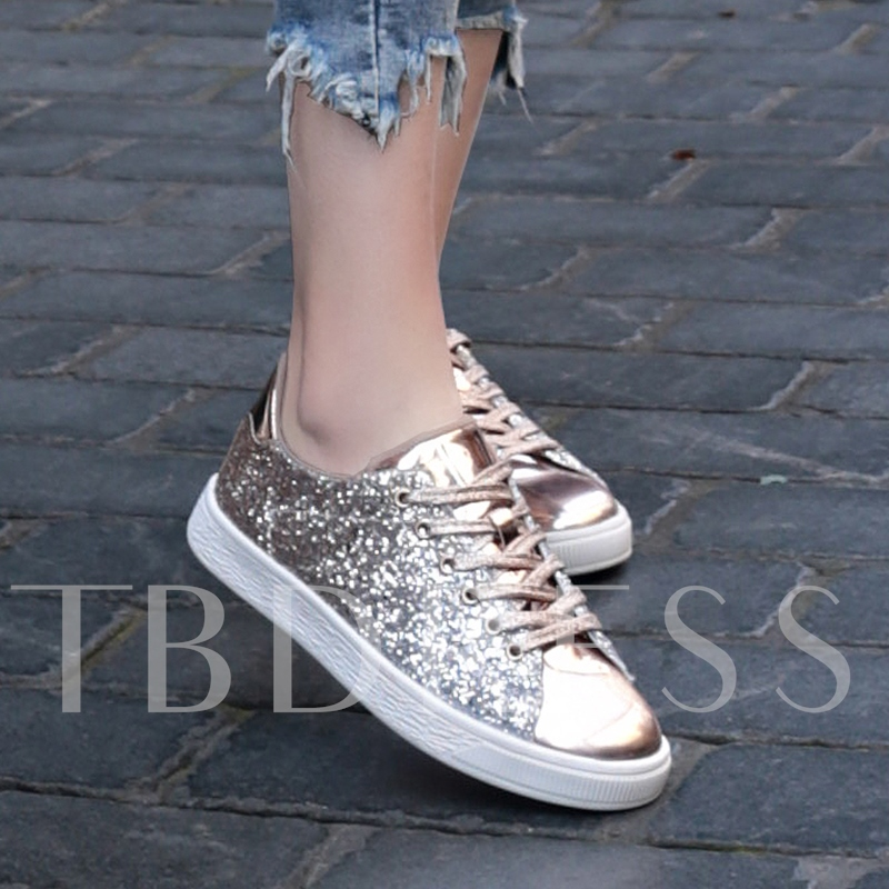 Round Toe Glitter Lace-Up Low-Cut Upper Women's Skate Shoes