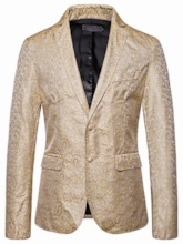 Casual Notched Lapel Button Color Block Men's Leisure Blazers