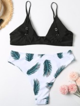 Plus Size Tankini Set Color Block Print Sexy Women's Swimwear