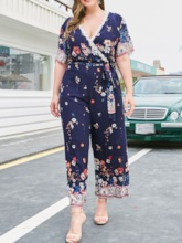 Plus Size Ankle Length Floral Print Wide Legs Women's Jumpsuit