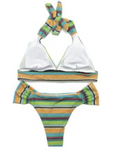 Sexy Lace-Up Tankini Set Color Block Women's Swimwear