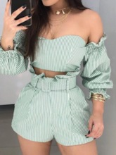 Print Western Shorts Stripe Pullover Women's Two Piece Sets