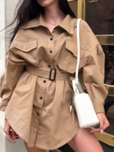 Lapel Mid-Length Single-Breasted Loose Women's Trench Coat