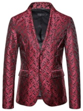 Casual Print Notched Lapel Single-Breasted Men's Leisure Blazers