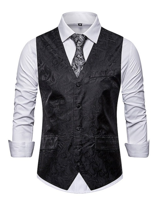 V-Neck Color Block Button Fall Men's Waistcoat
