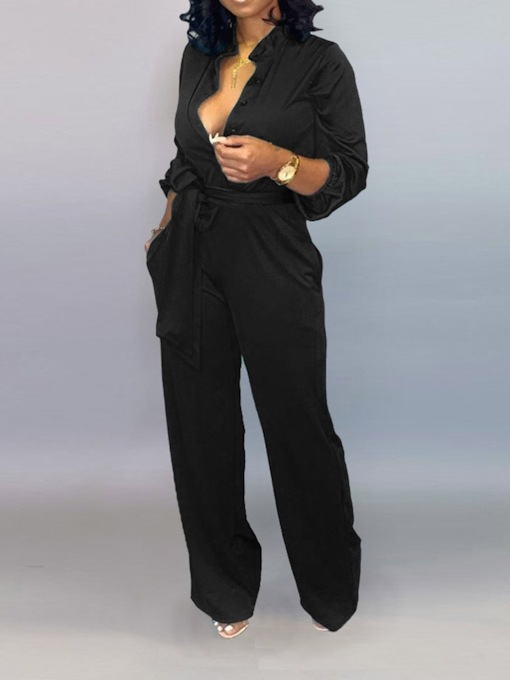 Plain Fashion Full Length Lace-Up Loose Women's Jumpsuit