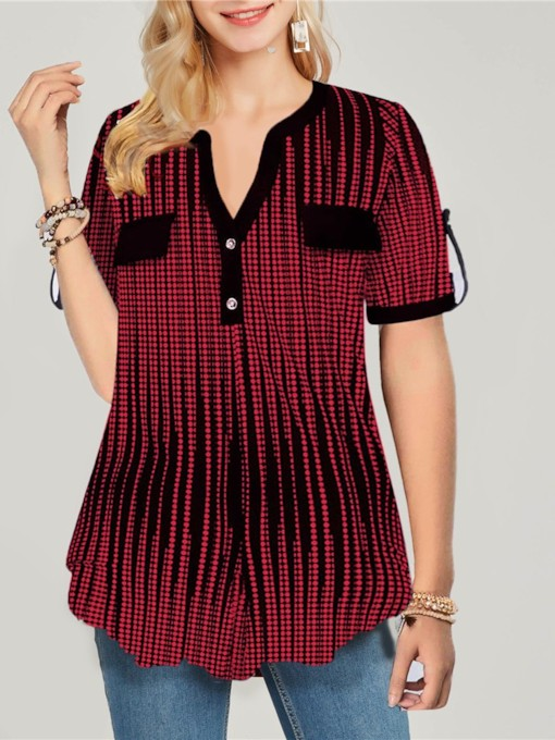 V-Neck Button Stripe Short Sleeve Women's Blouse