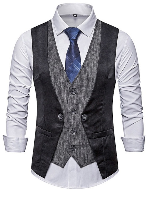 Color Block V-Neck Patchwork Summer Men's Waistcoat