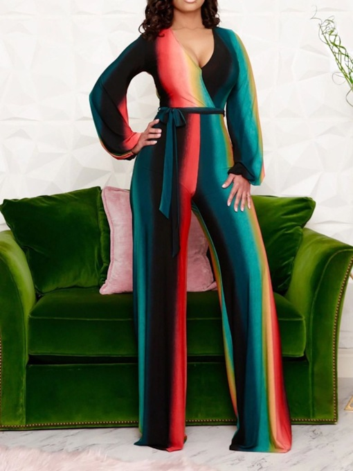 Color Block Western Full Length Lace-Up Loose Women's Jumpsuit