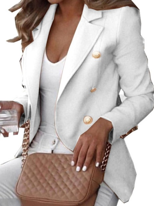 Double-Breasted Long Sleeve Notched Lapel Plain Standard Women's Casual Blazer