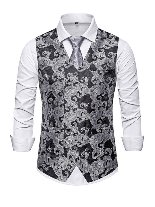 V-Neck Print Color Block Fall Men's Waistcoat