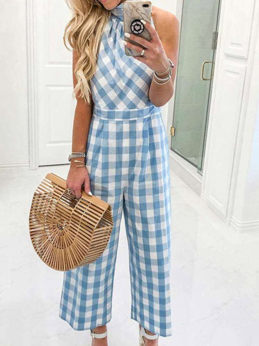 Mid-Calf Print Plaid Fashion Wide Legs Women's Jumpsuit