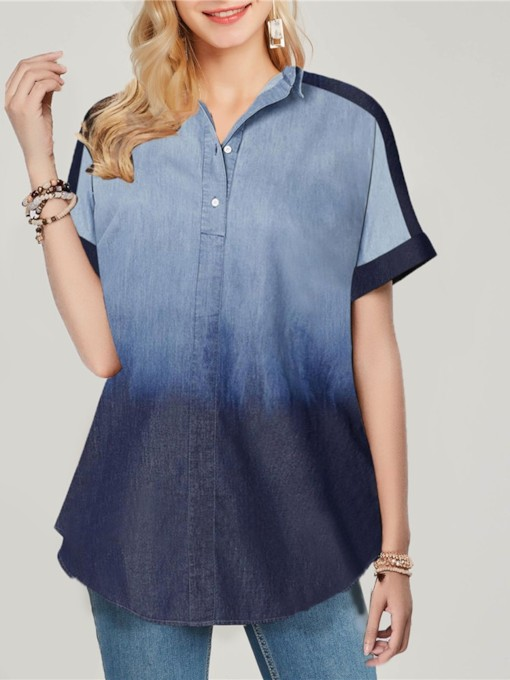 Gradient Button V-Neck Mid-Length Women's Blouse