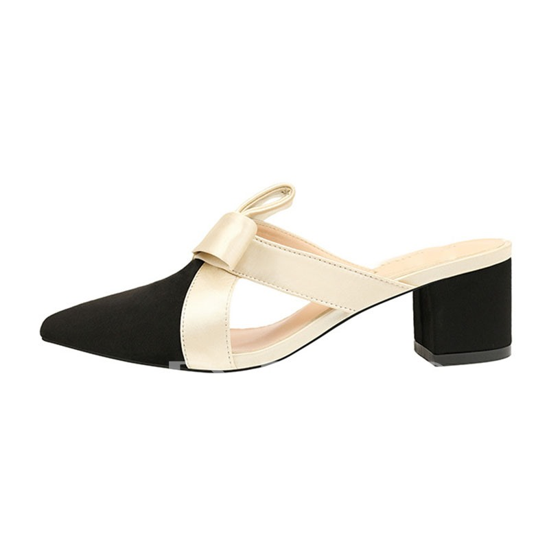 Pointed Toe Bow Chunky Heel Slip-On Sandals