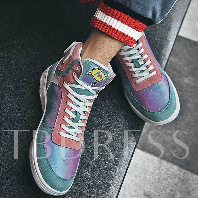 Lace-Up High Top Flat With Sports Mesh Men's Skate Shoes