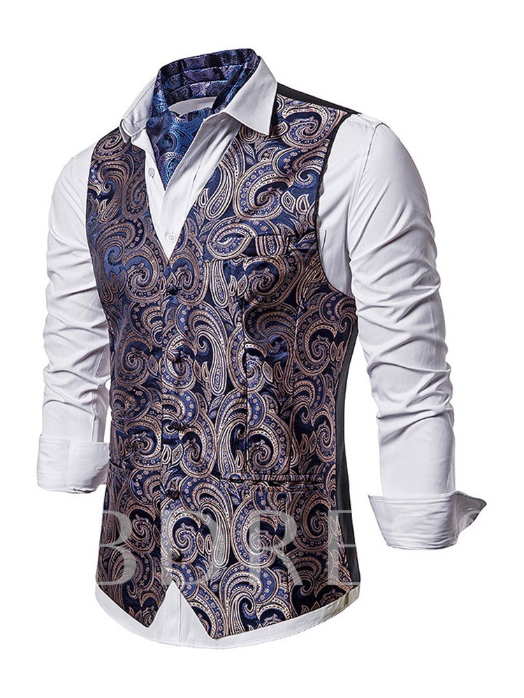 Fashion Polyester V-Neck Single-Breasted Color Block Patchwork Fall Men's Waistcoat