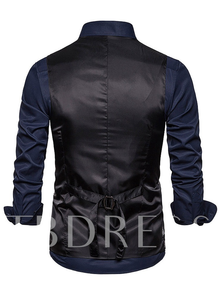 Fashion Floral Print V-Neck Color Block Double-Breasted Men's Waistcoat