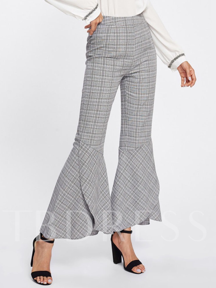Print Plaid Loose Bellbottoms Women's Casual Pants