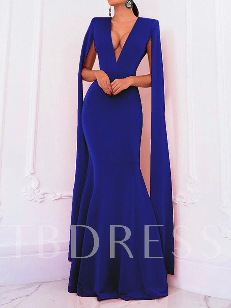 Long Sleeve Floor-Length V-Neck Fall Women's Maxi Dress