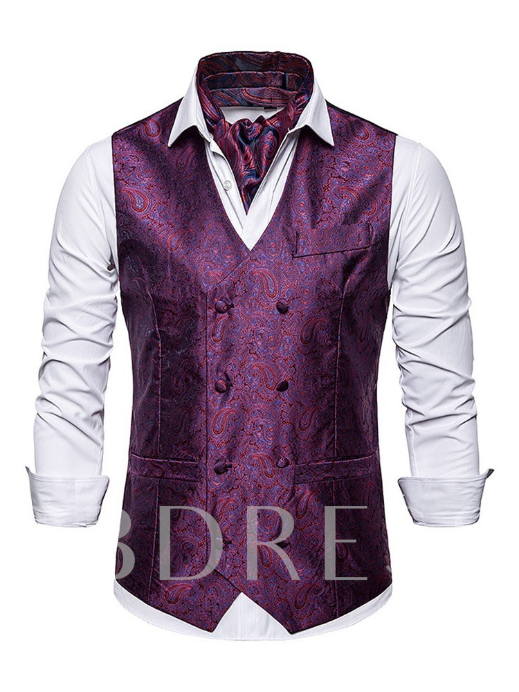 Button Color Block V-Neck Double-Breasted Men's Waistcoat