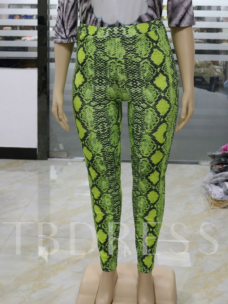 Plus Size Serpentine Print Skinny Full Length Women's Casual Pants