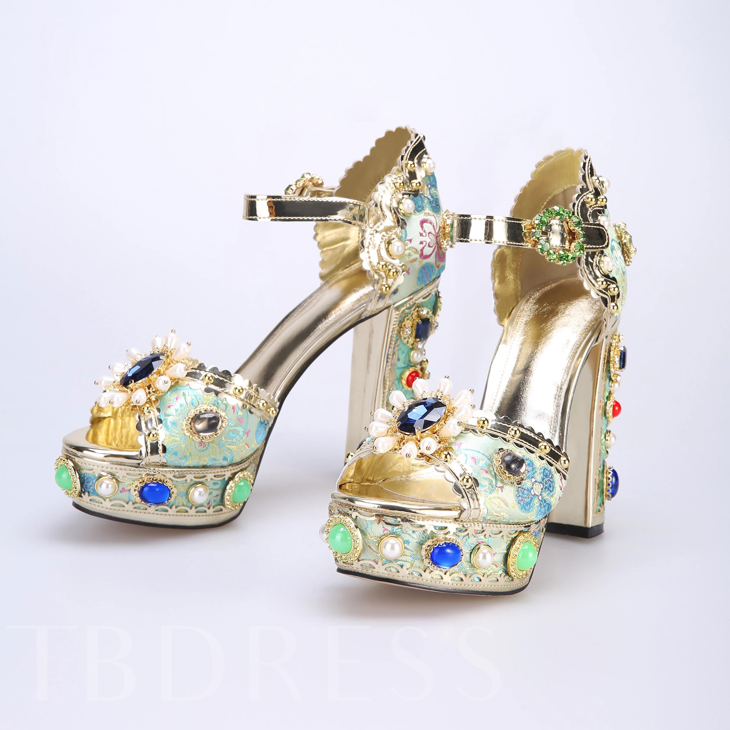 Customized Floral Peep Toe Chunky Heel Rhinestone Sandals