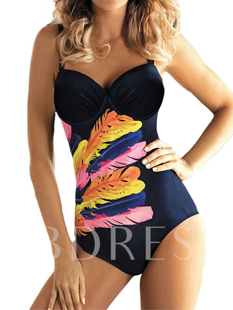 One Piece Print Sexy Plain Women's Swimwear