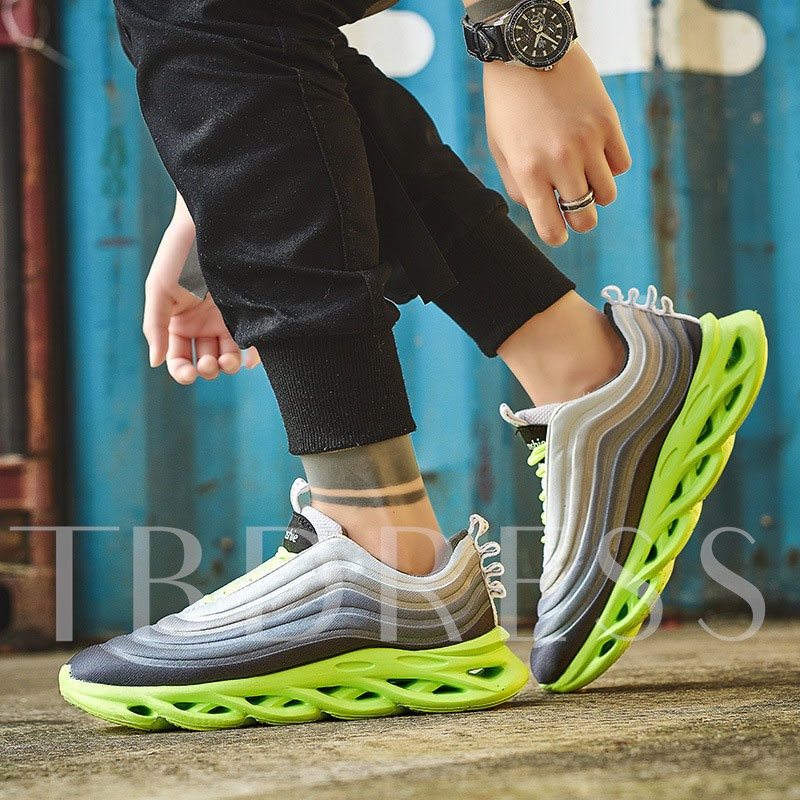 Neon Sports Lace-Up Round Toe Men's Sneakers
