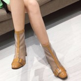 Back Zip Chunky Heel Round Toe Mesh Ankle Boots