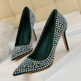 Pointed Toe Rhinestone Stiletto Heel Slip-On Pumps