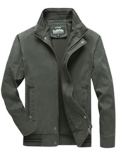 Thick Stand Collar Patchwork Color Block European Men's Jacket
