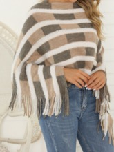 Western Knitted Fabric Color Block Fall Women's Cape