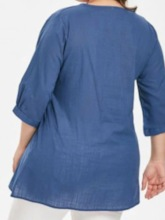 Plus Size V-Neck Embroidery Three-Quarter Sleeve Women's Blouse