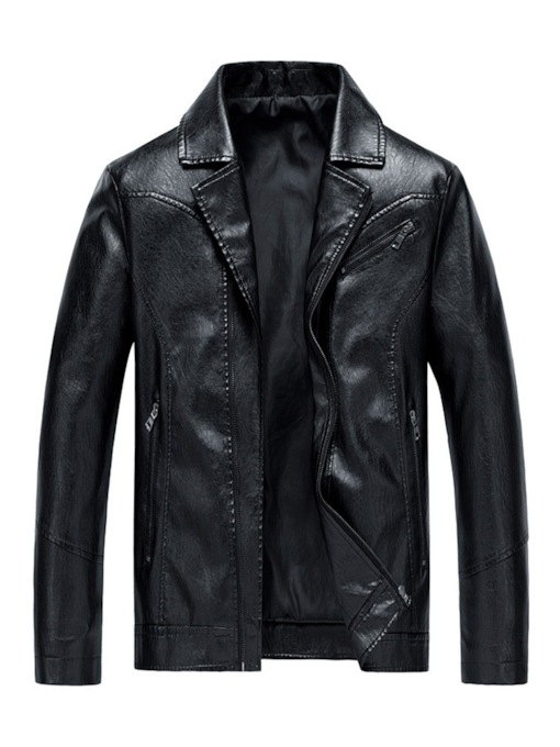 Lapel Plain Zipper Men's Jacket