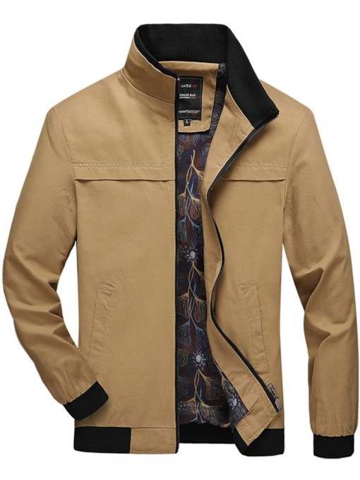 Zipper Thick Color Block Stand Collar Zipper Men's Jacket