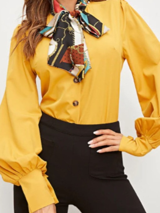 Plain Button Long Sleeve Yellow Women's Blouse