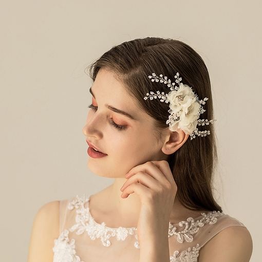 Diamante Leaf Hair Comb Hair Accessories (Wedding)