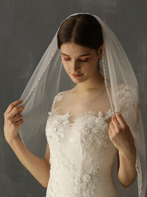Bead Edge Bead One-Layer Wedding Veil 2019