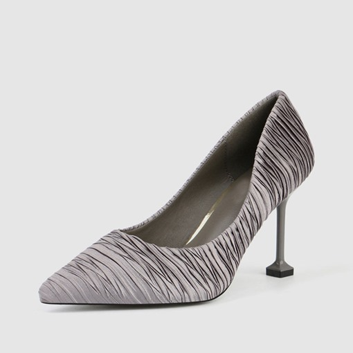 Stiletto Heel Slip-On Pointed Toe Silk Fabric Women's Pumps
