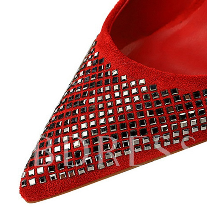 Suede Slip-On Pointed Toe Sequin Stiletto Heel Pumps