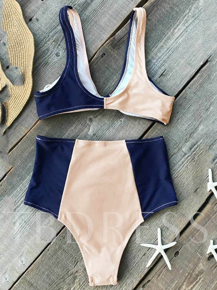 Bowknot Sexy Color Block Tankini Set Women's Swimwear