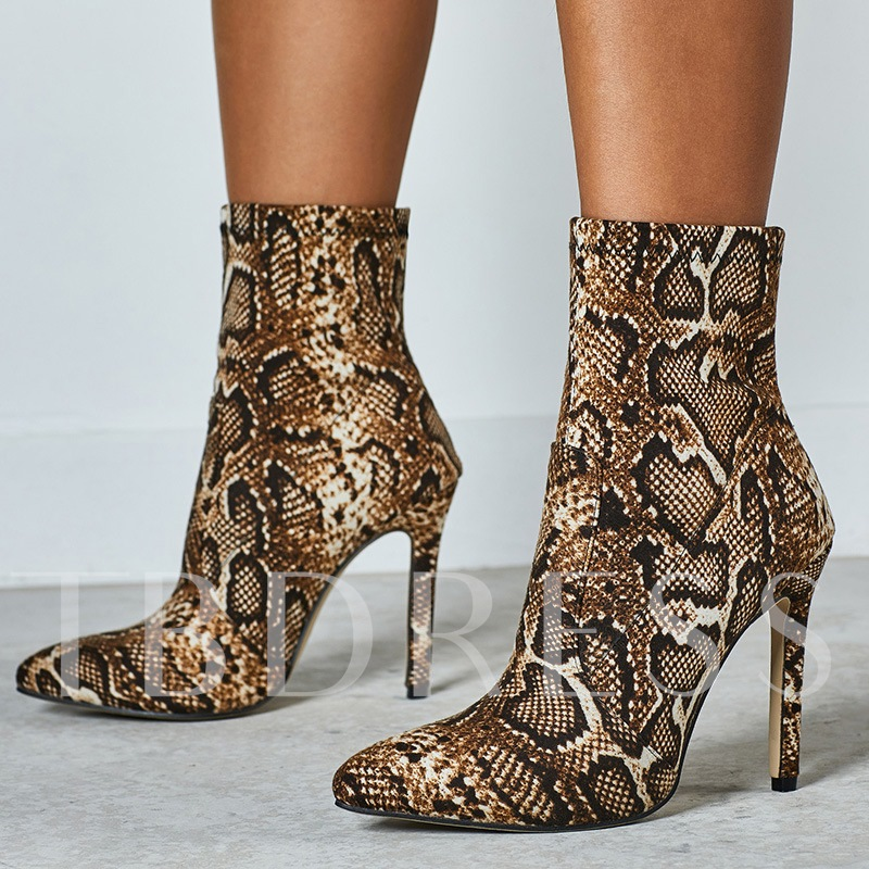 Pointed Toe Slip-On Stiletto Heel Serpentine Ankle Boots