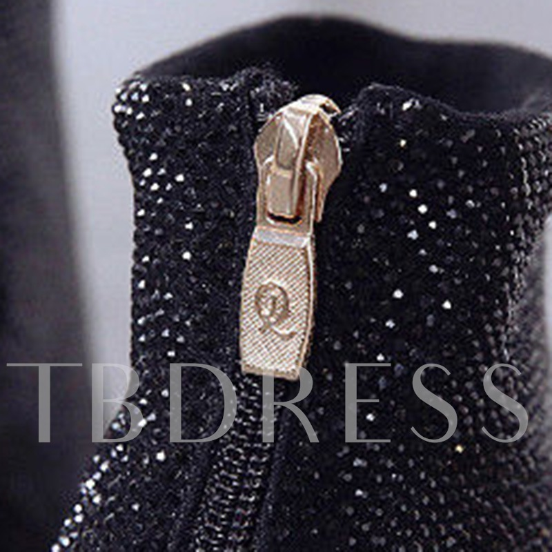 Back Zip Stiletto Heel Pointed Toe Rhinestone Ankle Boots